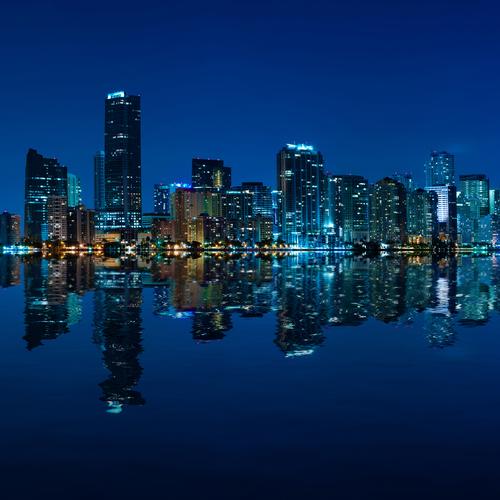 Miami skyline at night panoramic image