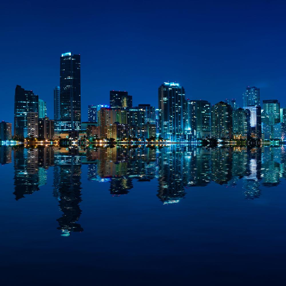Miami skyline at night panoramic image 3