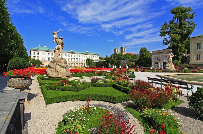 Mirabell palace and garden in the summer Salzburg Austria Stock Photo
