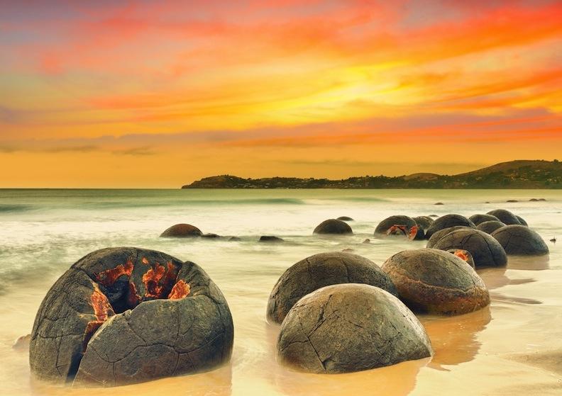Moeraki Boulders at sunset