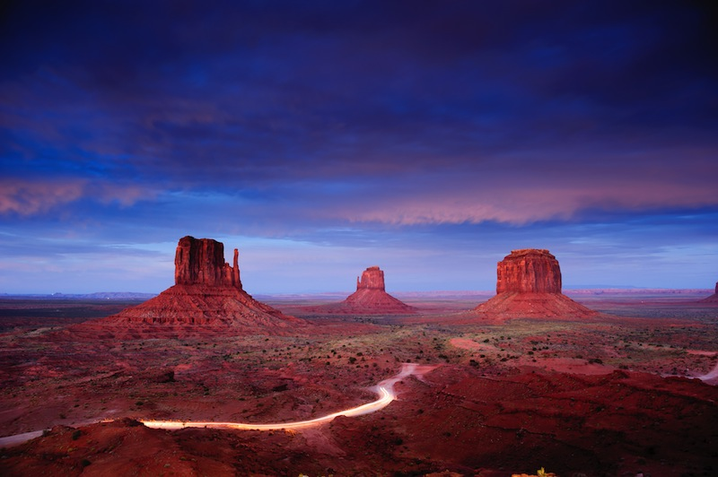 Monument Valley at dusk after sunset Utah USA