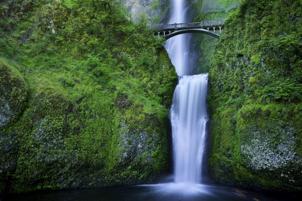Multnomah Falls and the foot bridge across in the Columbia River Gorge oregon