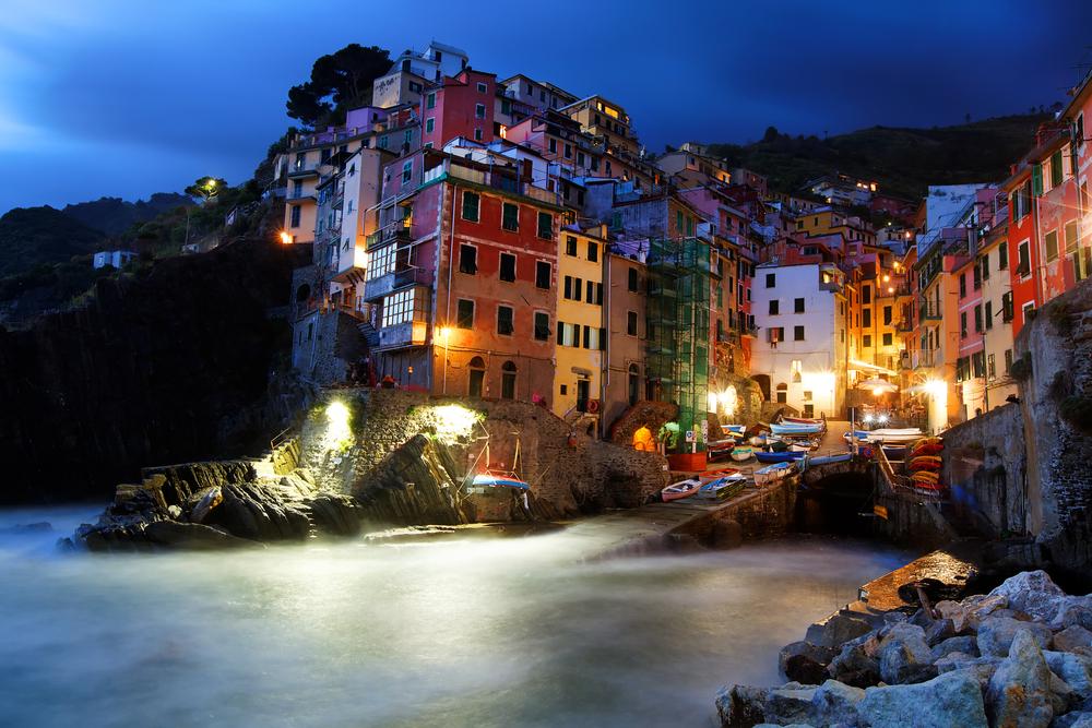Night falling over Riomaggiore Cinque Terre Italyliguria