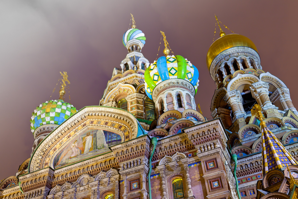 Night view of the domes Savior on Spilled Blood