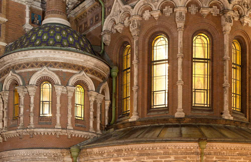 Night view on the windows of Savior on Spilled Blood