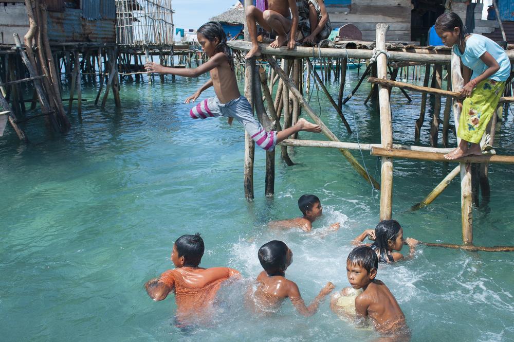 OMADAL ISLAND SABAH MALAYSIA JANUARY 28 Unidentified Sea Gypsies people on January 28 2012 in Sabah Malaysia