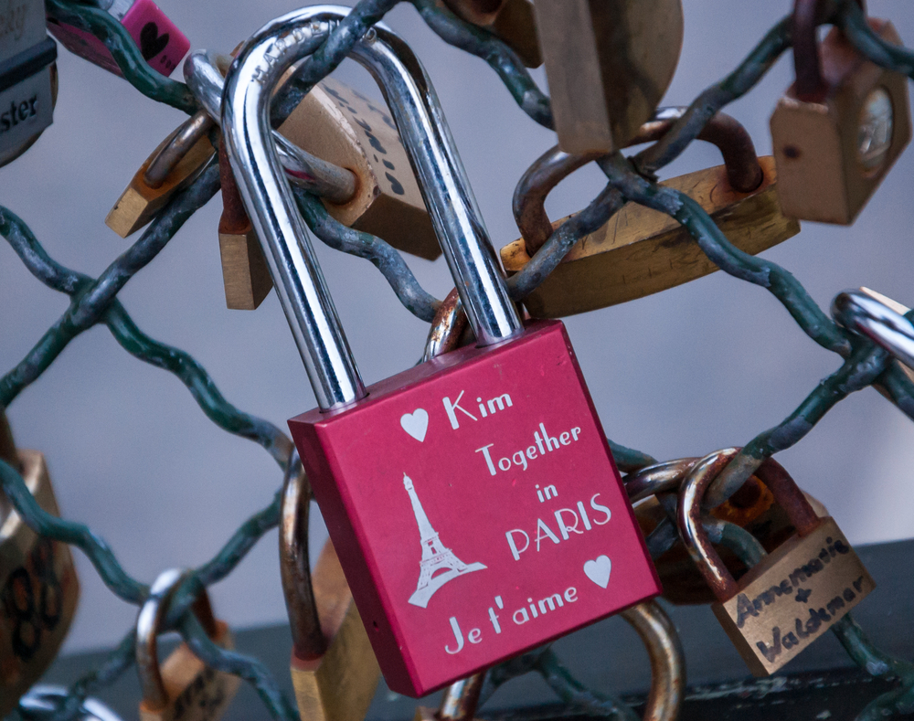PARIS MARCH 24 Pink love lock with Eiffel tower and hearts as seen on March 24 2013 in Paris France