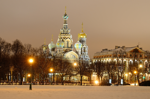 PETERSBURG RUSSIA JANUARY 5 Church of the Savior on Spilled Blood on January 5 2013 in Petersburg Russia