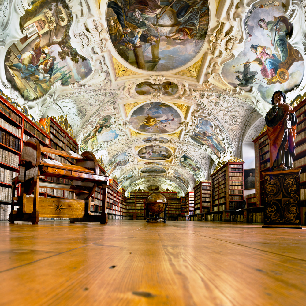 PRAGUE CZECH REPUBLIC SEPTEMBER 19 The Theological Hall in Strahov monastery in Prague constructed in 1720s