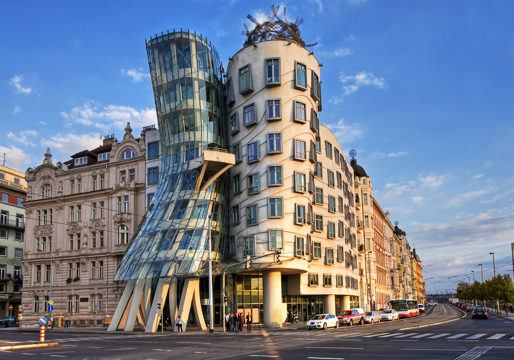 PRAGUE SEPTEMBER 13 Modern building also known as the Dancing House designed by Vlado Milunic and Frank O