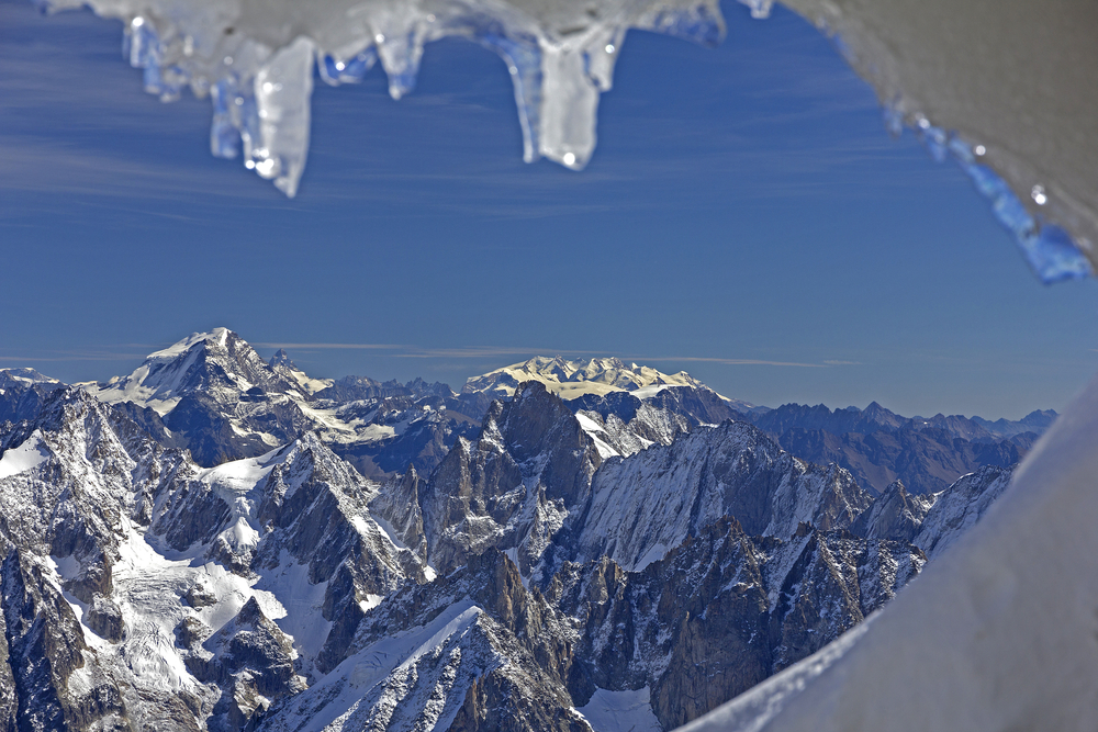 Panoramic picture of Mont Blanc french AlpsChamonix