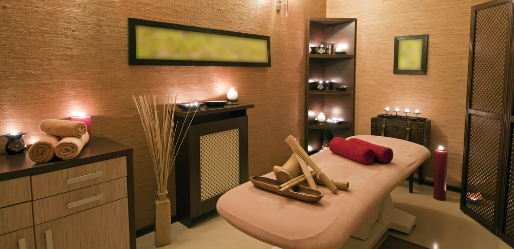 Panoramic view of the nice massage room in spa saloon