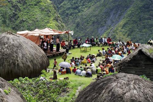 Papuan village of Baliem Valley on New Guinea Island