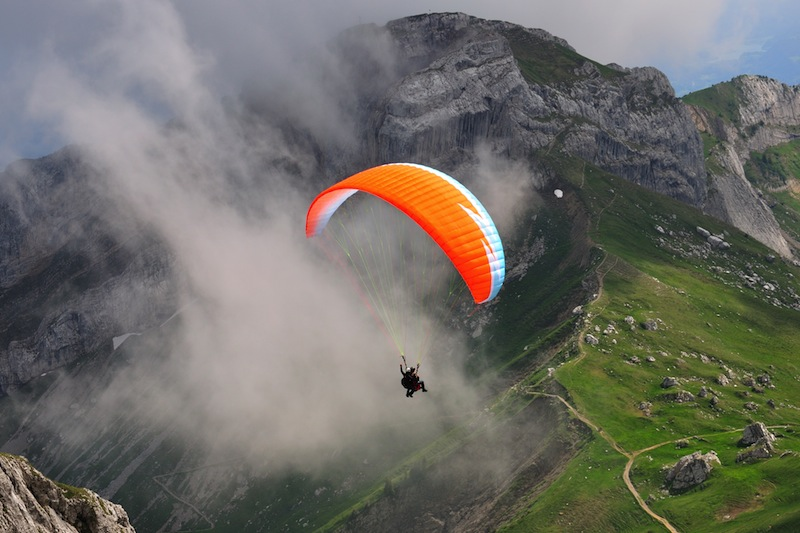 Paragliding at Pilatus mountain Switzerland