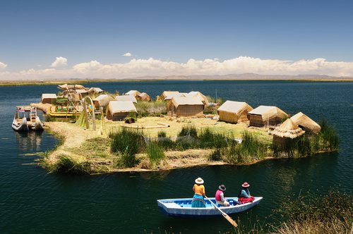 Peru floating Uros islands on the Titicaca lake the largest highaltitude lake in the world 3808m