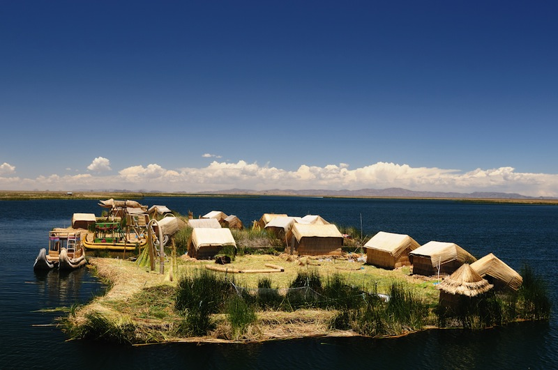 Peru floating Uros islands on the Titicaca lake