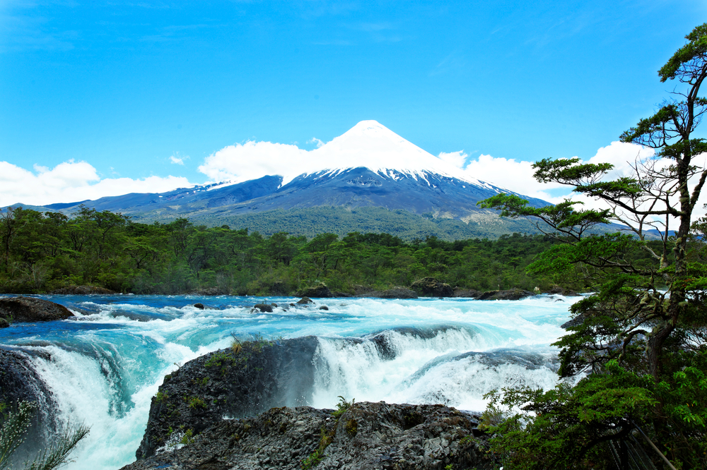 Petrohue Falls with Osorno Volcano Patagonia Chile South America