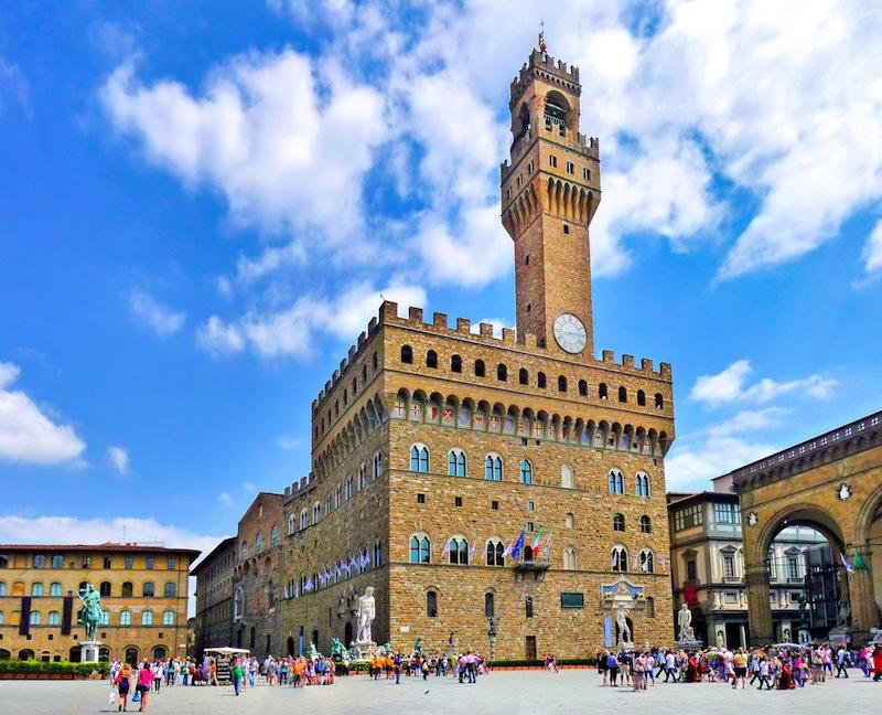 Piazza della Signoria with Palazzo Vecchio in Florence Tuscany Italy