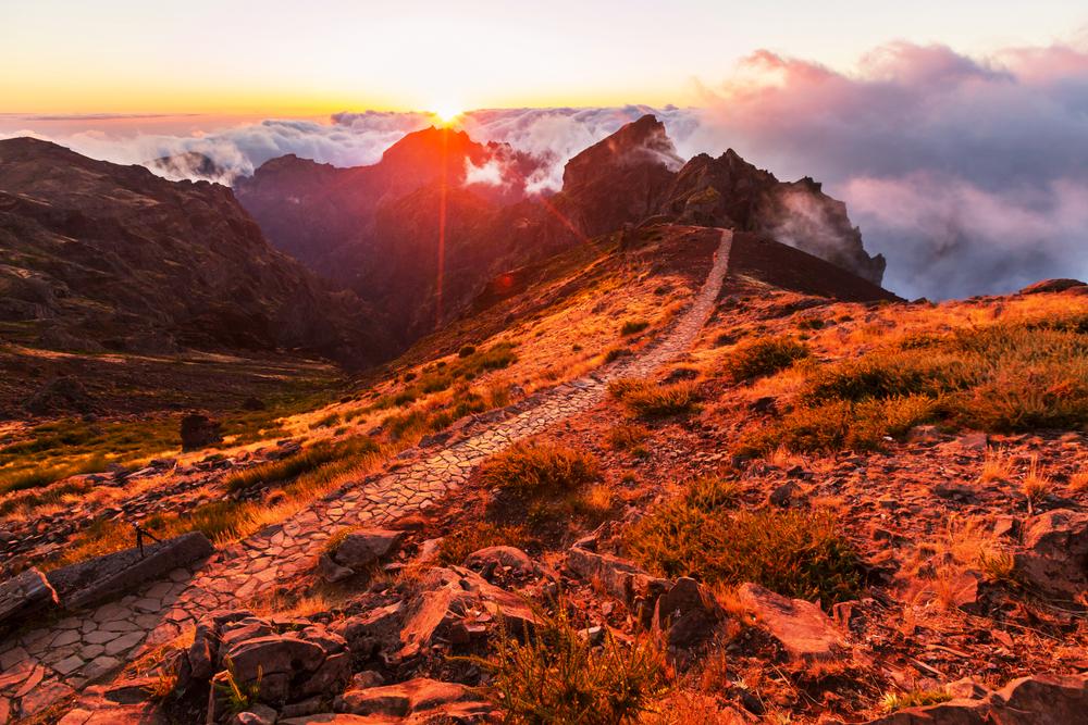 Pico Ruivo and Pico do Areeiro mountain peaks in Madeira Portugal