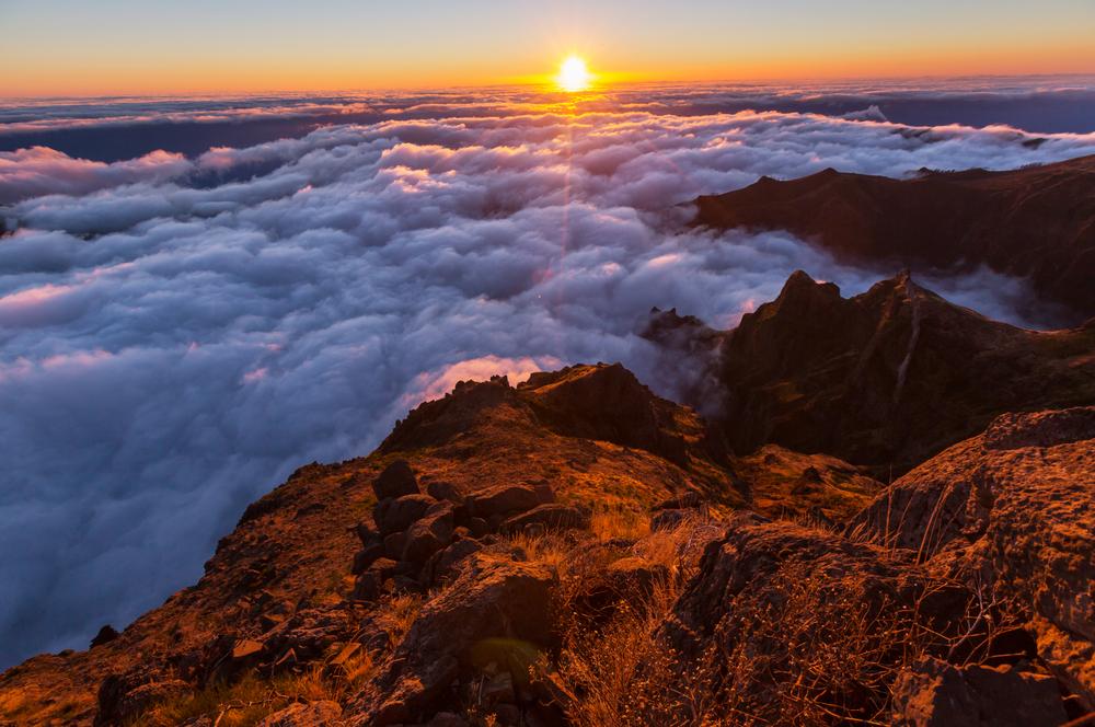 Pico Ruivo0 and Pico do Areeiro mountain peaks in Madeira Portugal