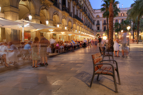 Placa Reial Royal Plaza in the old quater of Barcelona Spain