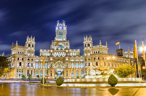 Plaza de Cibeles with the Palacio de Comunicaciones Madrid Spain