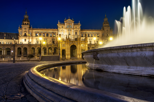 Plaza de Espana in Sevilla at dusk Spain