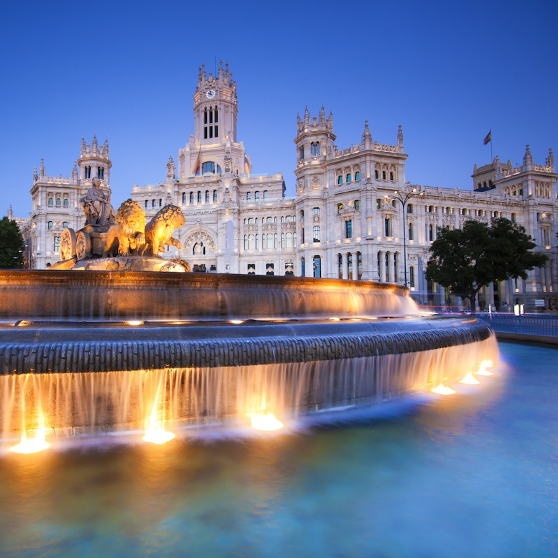Plaza de la Cibeles Cybeles Square Central Post Office Palacio de Comunicaciones Madrid Spain