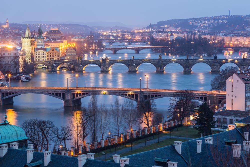 Prague at Twilight view of Bridges on Vltava