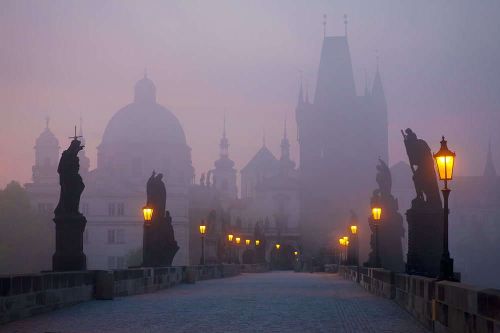 Prague bridge at dawn
