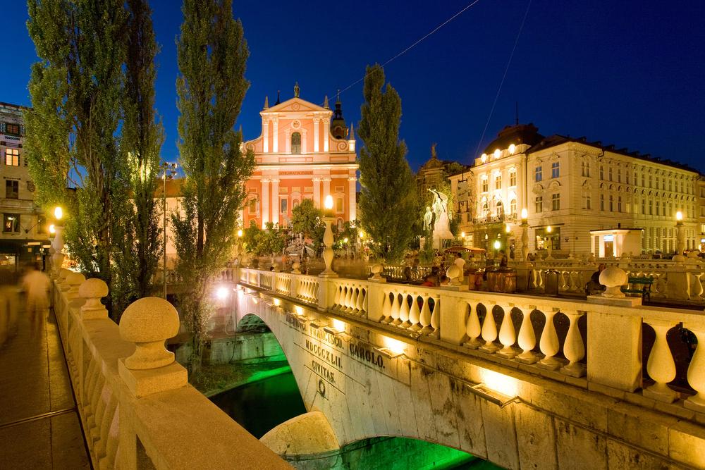 Preseren Square across Ljubljanica River at Dusk Ljubljana Slovenia