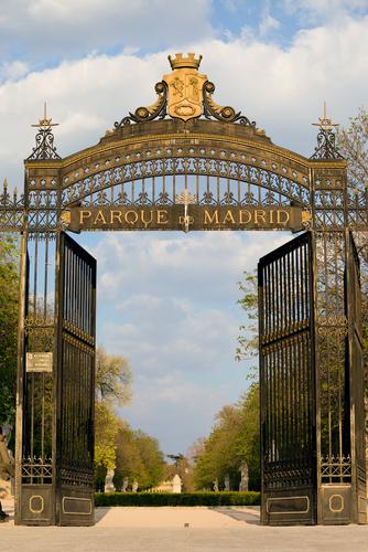 Puerta de Espana entrance to the Buen Retiro Park in Madrid Spain