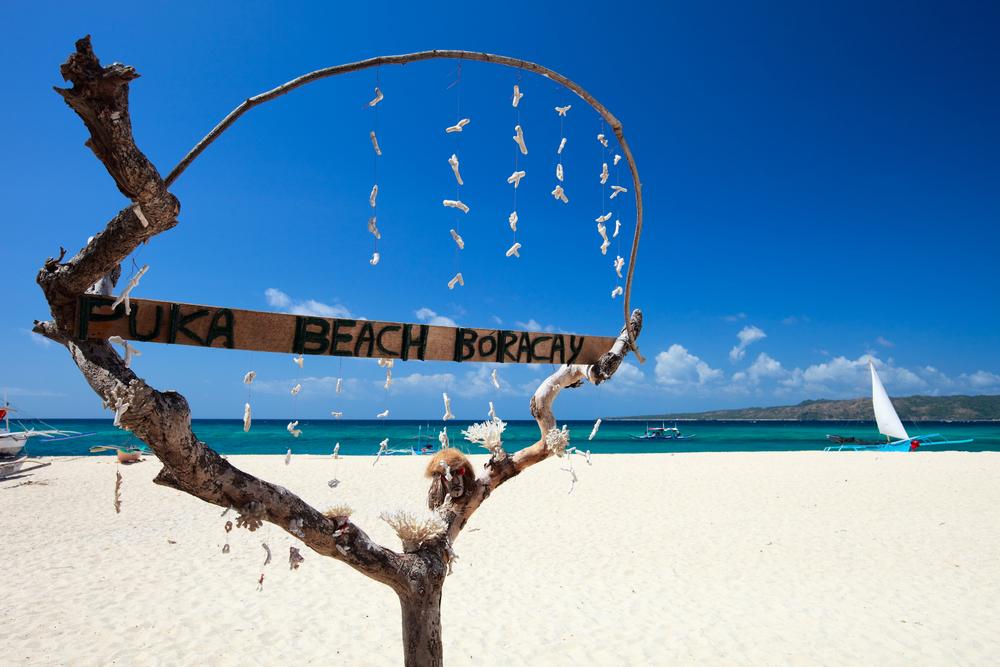Puka shell beach at Southern part of Boracay island Philippines