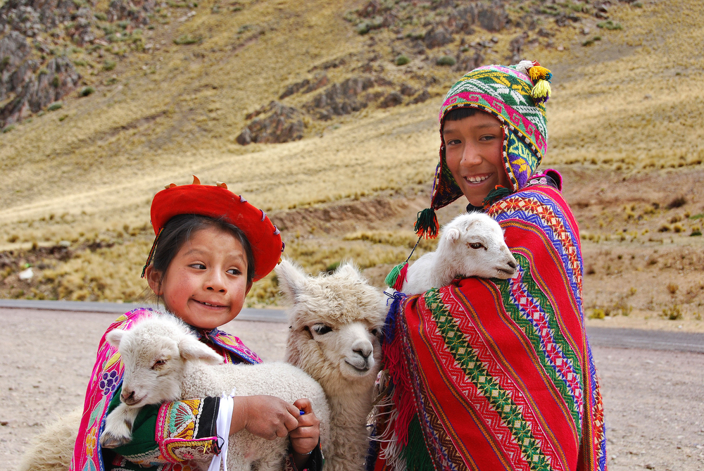 RAYA PASS PUNO NOVEMBER 22 Unidentified children in traditional clothing play with their animals on November 22 2010 in Raya Pass Puno Peru