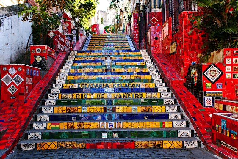 RIO DE JANEIRO MARCH 9 Stairway Selaron on March 9 2012 in Rio de Janeiro Brazil