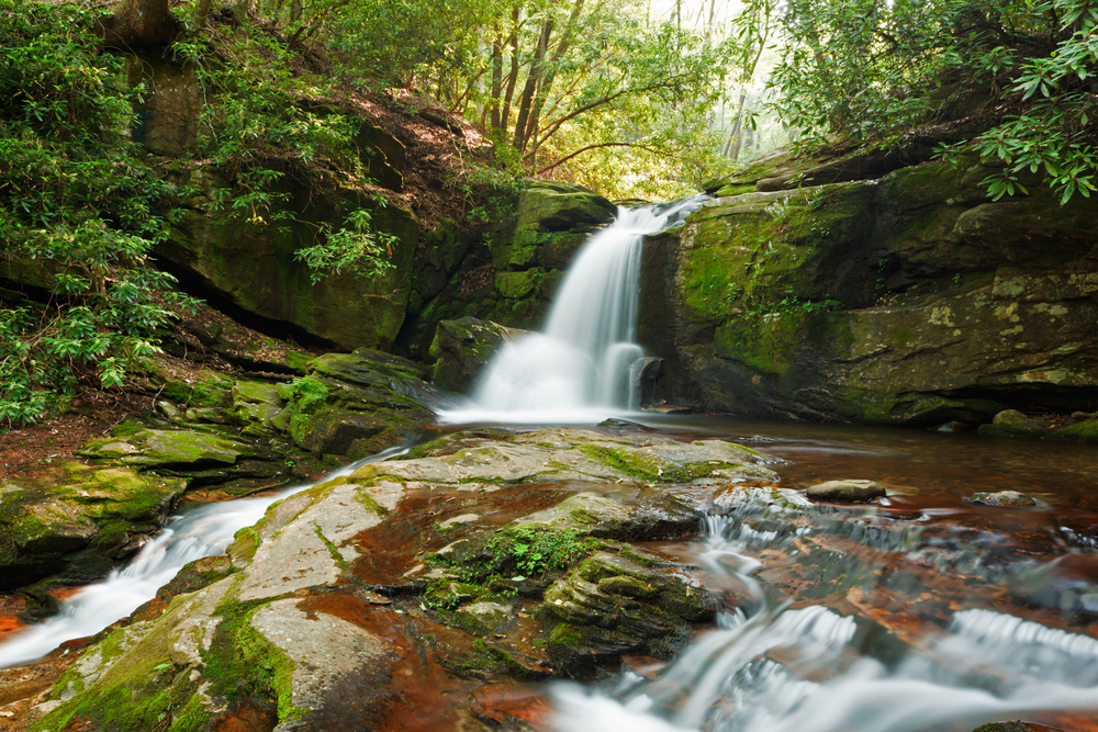 Raven Cliff Trail first waterfall on Dodd creek