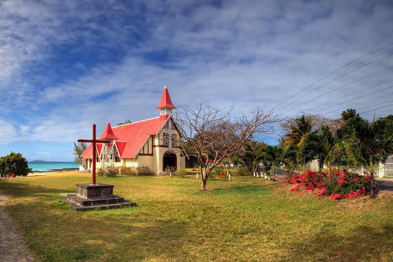 Red roofed church north Mauritius
