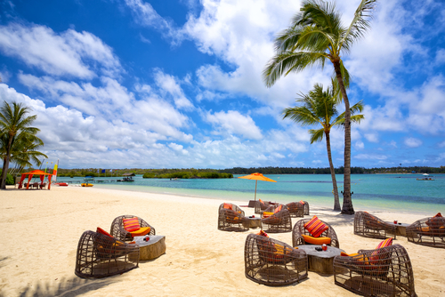 Relax area on tropical sandy beach in Mauritius Island 3