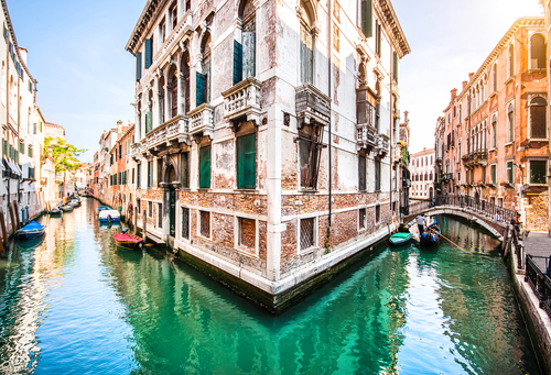 Romantic scene in Venice Italy