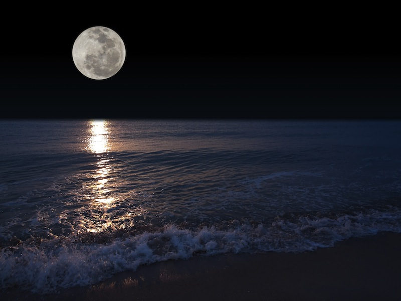 Romantic tropical beach with beautiful full moon