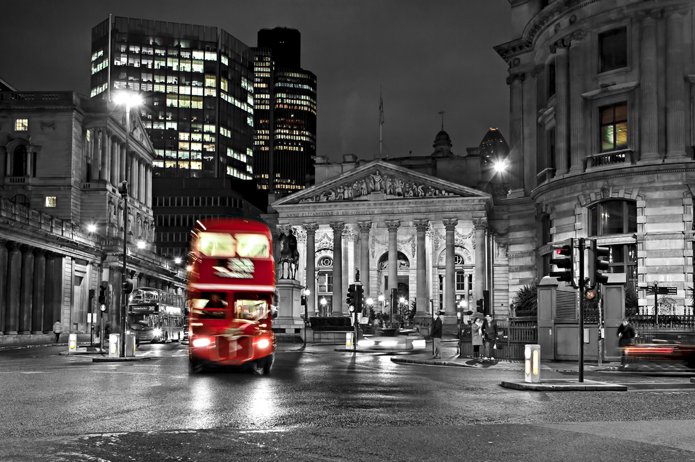 Royal Exchange London With Red Route master Bus5