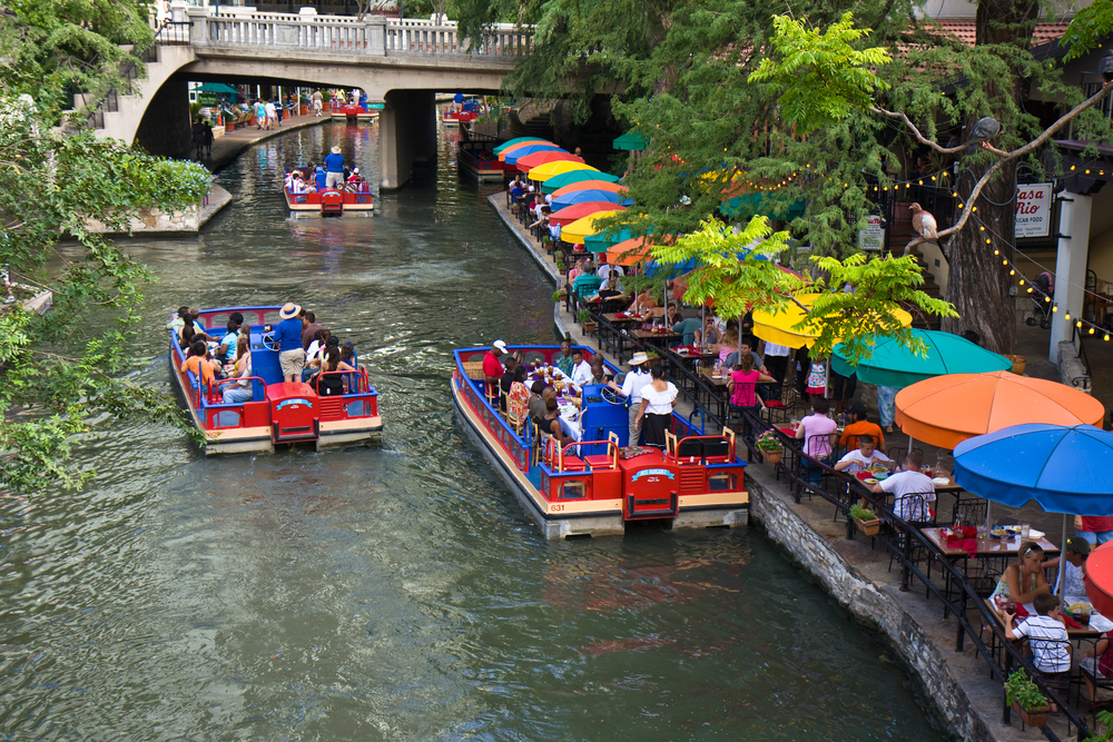 SAN ANTONIO TEXAS USA JULY 20 Section of the famous Riverwalk on July 20 2009 in San Antonio Texas