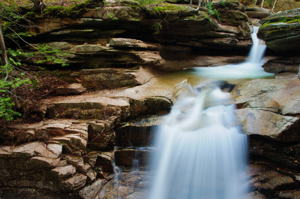 Sabbaday Falls off the Kancamagus Highway in the White Mountain National Forest of New Hampshire New England