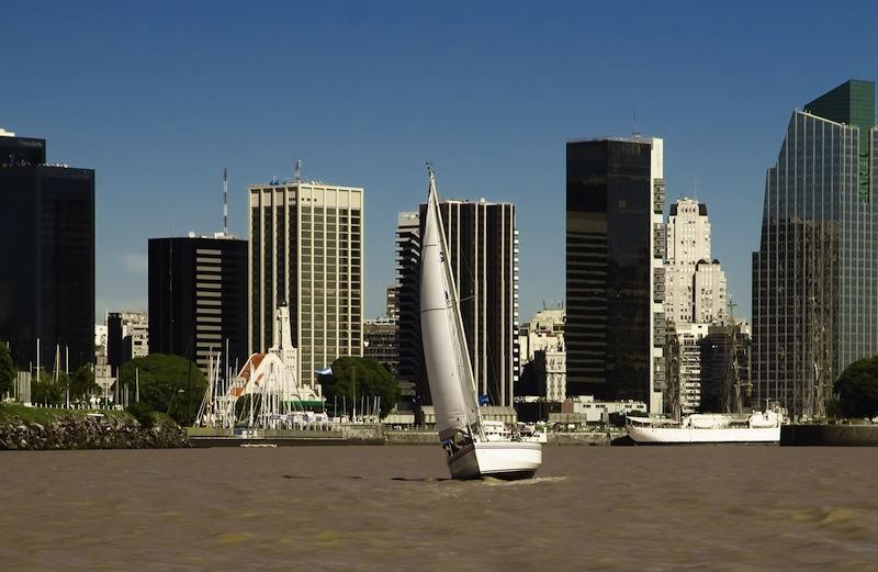 Sailboat over the city landscape Argentina