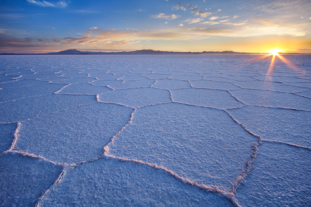 Salar de Uyuni at sunrise the largest salt flat in the world