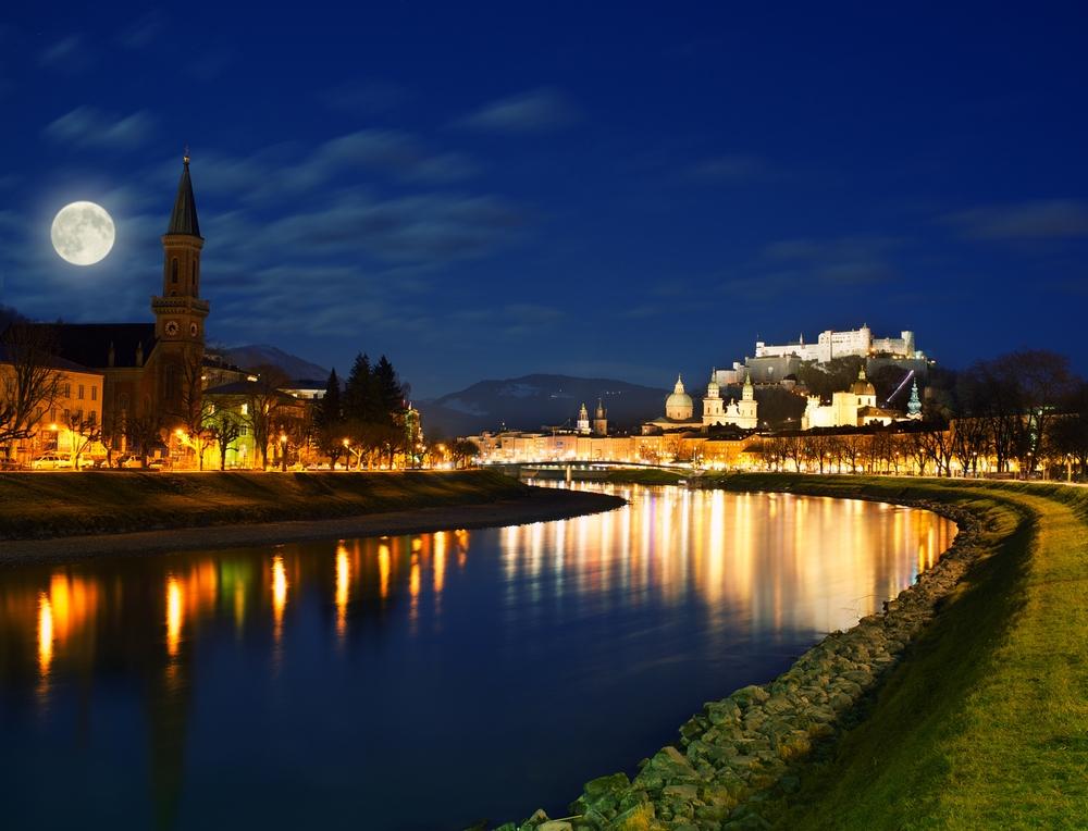 Salzburg city view at night
