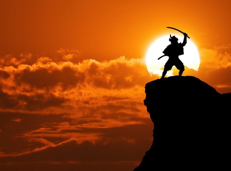 Samurai on top of mountain