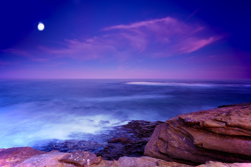 San Diegos La Jolla Shores and Moon in San Diego California at Dawn