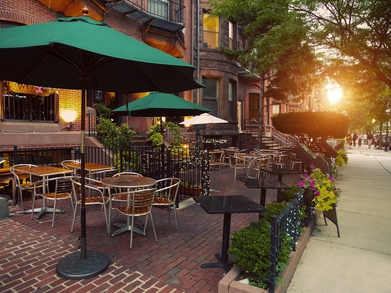 Scenic Cafe Terraces in Newbury Street located in the Back Bay area of Boston Massachusetts