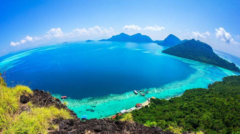 Scenic panoramic top view of Tun Sakaran Marine Park tropical island Semporna Sabah
